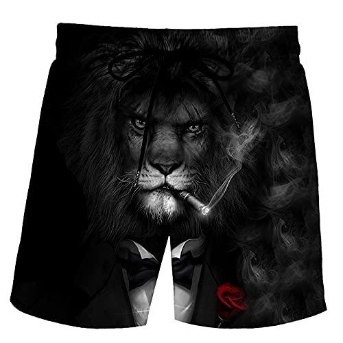 XCMLZ Lionpantalones Cortos Casual Mens Swim Trunks Impreso Anime Beach Shorts Verano Banda Elástica,XXXXL