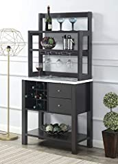 Showcases a modern contemporary style MDF/Hollow core/Melamine/Metal Holds up to 9 wine bottles/Has 3 hanging stemware racks Assembled Dimensions: (L) 31 in. x (W) 15.5 in. x (H) 64 in. Weight: 83 lbs. Packaging Dimensions: L40 x W21 x H12.75 Weight:...