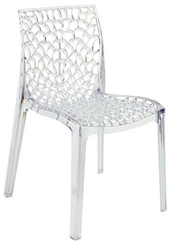 Gruvyer - Up-on - Chaise en polycarbonate pour intérieur et extérieur (bar, restaurant, salle d'attente, cuisine, séjour, salon, jardin) - Fabriquée en Italie transparent