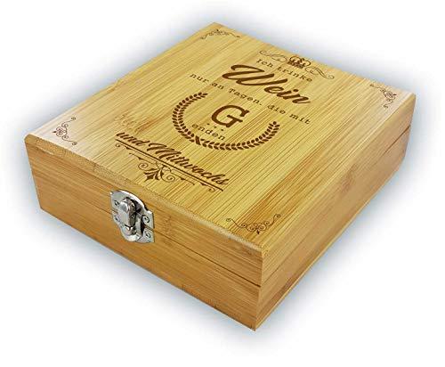Weinzubehör - Geschenkbox aus Bambus Ich trinke Wein nur an Tagen, die mit 'G' Enden - und Mittwochs