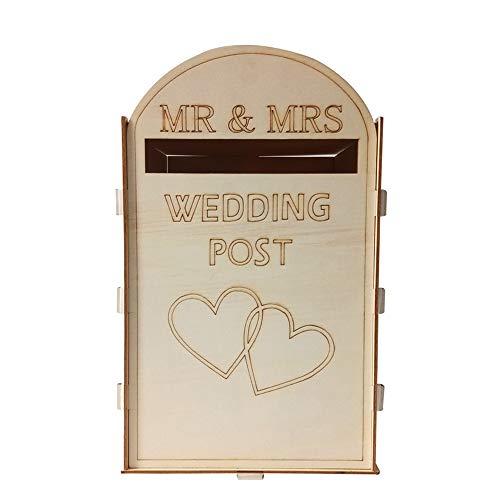 Galapara, bruiloftskaarten, geschenkbox, bruiloftsfeest, accessoires, huwelijkskaartendoos van hout, brievenbus bruiloft cadeaukaartendoos met slot voor ontvangst trouwdag party decoratie