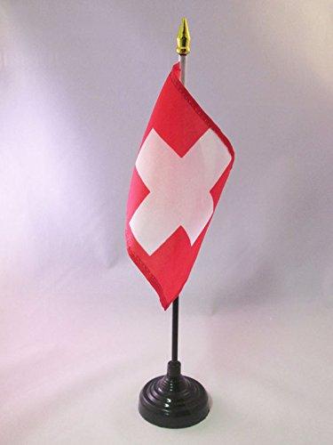 AZ FLAG TISCHFLAGGE Schweiz 15x10cm goldene splitze - HELVETISCHE TISCHFAHNE 10 x 15 cm - flaggen