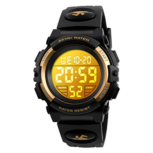 Boys Digital Watch Outdoor Sports 50M Waterproof Electronic Watches Alarm Clock 12/24 H Stopwatch Calendar Wristwatch - Gold