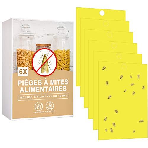 O³ Pièges à Mites Alimentaires Lot de 6 Anti Mite Alimentaire Produit Puissant Piège Collant pour Cuisine Et Placard Piège à Phéromones Efficace Non Toxique
