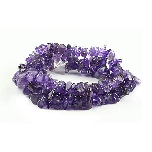 35 inches Amethyst Chip Stone Loose Gemstones Beads Drilled Strand for Jewelry Making (Amethyst)
