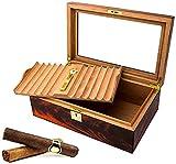 QULONG Humidor de Caja de Cigarrillos, Juego de exhibición de Escritorio con higrómetro y humidificador, Caja Decorativa Conveniente