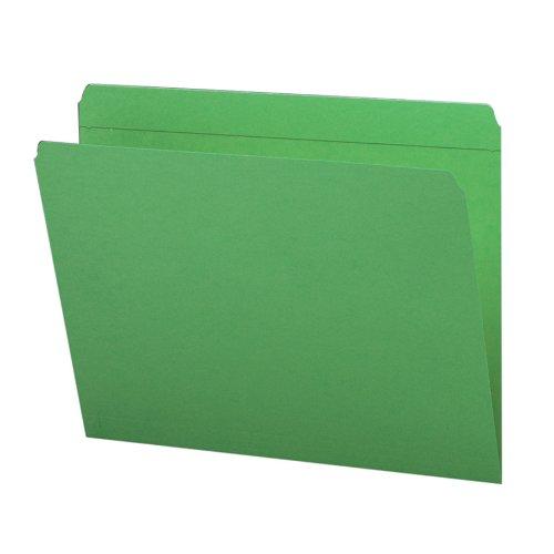 Smead File Folder, Reinforced Straight-Cut Tab, Letter Size, Green, 100 per Box (12110)