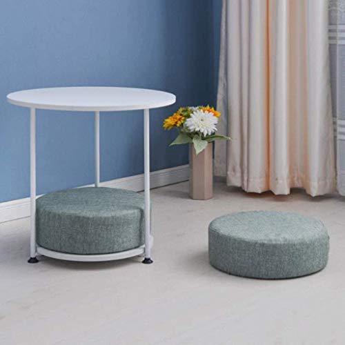 Tavolino, tavolino, tavolino da caffè, tavolino da divano, tavolino angolare rotondo in metallo a 2 livelli con cuscino, semplice tavolo da lettura per laptop da soggiorno, 55 * 55 cm (colore: E)
