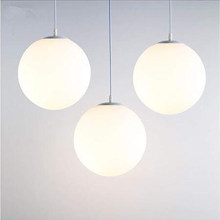 Lampe Suspension Moderne en Verre Brillant Blanc 25 CM Lustre Boule en Verre Moderne Mode LED Luminaire Suspension Design pour Chambre/Salon/Restaurant/Bar