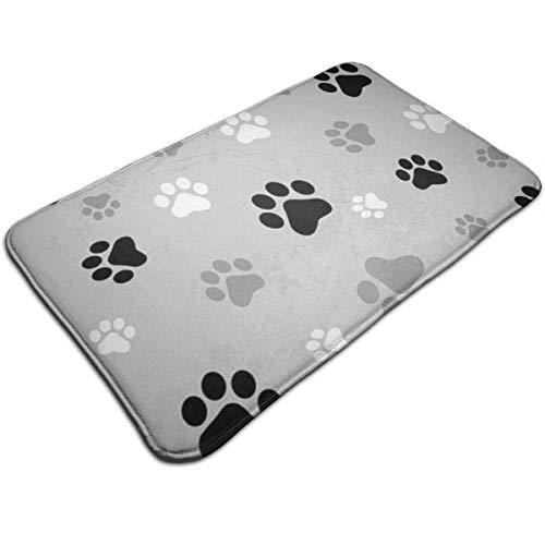 GOSMAO Entrance Doormat Non-slip Dirt Trapper Absorbent Water Washable Indoor Floor Mat Rug Animal Paw Prints 40X60cm