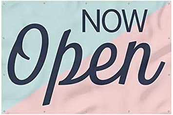 9x6 Now Open Sign Pink /& Blue Heavy-Duty Outdoor Vinyl Banner CGSignLab