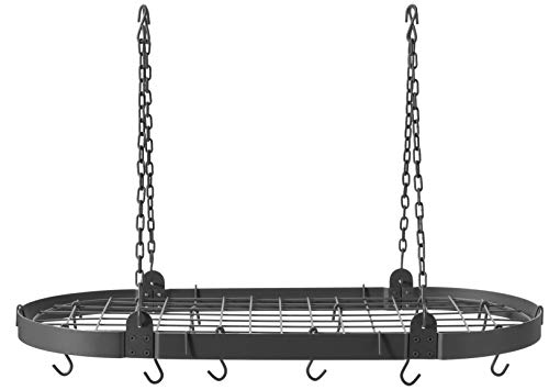 Old Dutch Oval Pot Rack with Grid & 12 Hooks, Graphite