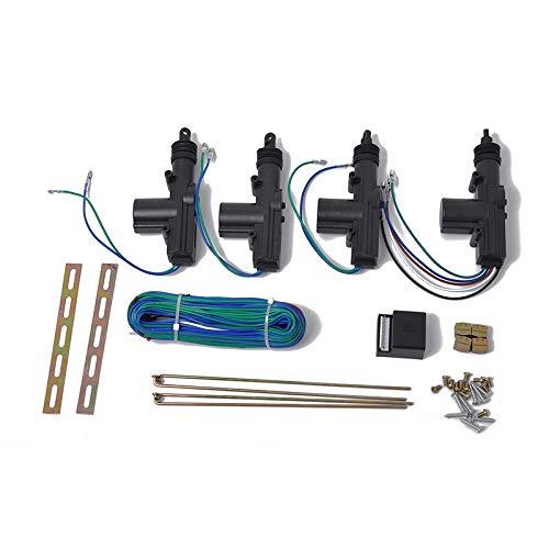 ETbotu centrale vergrendelingsset, deurvergrendeling, 12 V, met aandrijving voor accessoires, afstandsbediening, universele auto Eén maat Noir A0591