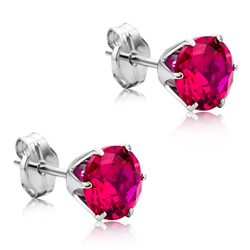 Orovi Woman Studs Earrings 9 ct / 375 White Gold and Ruby