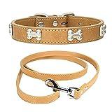 Collar de Perro de PU Ajustable + Correa de Perro, Collar de Perro Hecho de Aleación de PU, Collares para Perros Gatos