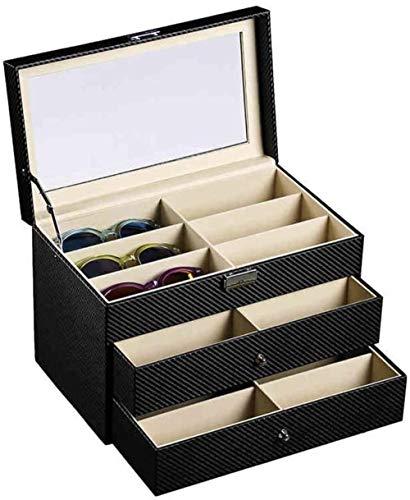 SHANCL Occhiali da Sole di visualizzazione Organizzatore 3 Strati di Lenti for Occhiali, Bagagli e Collector Box Ideale for Occhio Indossa Gioielli Orologi Protector Holder Box