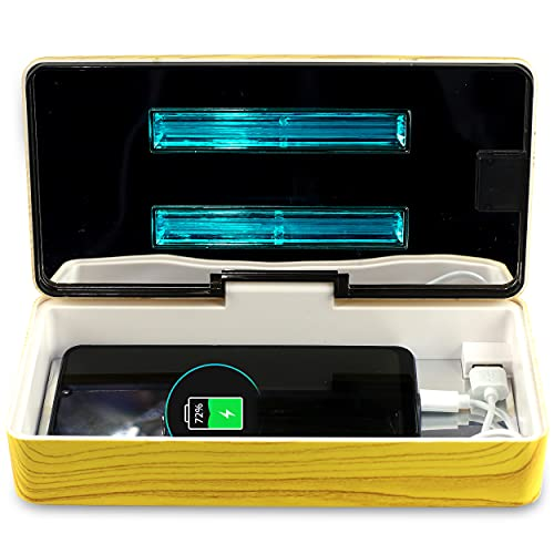 JJ CARE UV Disinfecting Box, UV Phone Sanitizer Box, UV Sterilizer for Home Items, Beauty & Nail Tools, Office & Clinic Use - Wood Yellow