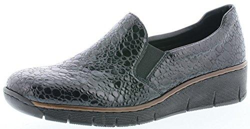 Rieker 53766 Damen Slipper, Mokassins, Halbschuhe, Kroko Look, weiche Decksohle grau (Granit / 45), EU 38