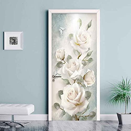 CUUDBP 3D Etiqueta De La Puerta, Flor Rosa Blanca Impermeable Extraíble Pegatinas De Pared Pintura Mural Autoadhesivos Papel Tapiz para Puertas Interiores Dormitorio Decoracion 77X200Cm