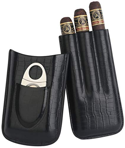 Mantello Top Quality 3 - Finger Black Genuine Leather Cigar Case - Cedar Wood Lined Cigar Humidor with Silver Stainless Steel Cutter