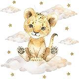 Pandawal Kinderzimmer Deko Wandtattoo Löwe mit Wolken Sterne Mädchen Junge Wandsticker Baby Safari Tiere Wandaufkleber (L, Löwe)