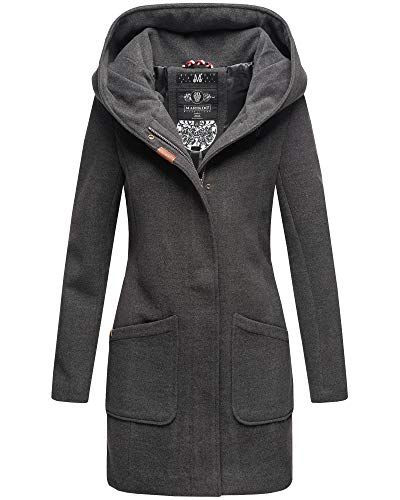 Marikoo Damen Winter Jacke Mantel Business Trenchcoat Wintermantel Parka XS-XXL MAIKOO (S, Anthrazit)