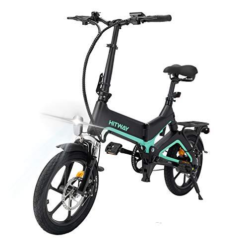 HITWAY Elektrofahrrad,16 Zoll Klapprad Elektrofahrräder, mit LED-Vorderlicht E-Bike, mit 250 W Lithium Batterie, 7,5 Ah / 36 V, Doppel-Ddisc-Bremsen vorne und hinten Elektrofahrrad klapprad,BK-2