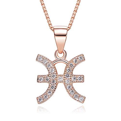 DDDDMMMY Sternzeichen Halsketten,Fische Cut Crystal 12 Sternzeichen Amulett Collier Rose Gold Mode Einfache Konstellation Anhänger, Für Geburtstag Geschenk Freundin Schmuck Frau