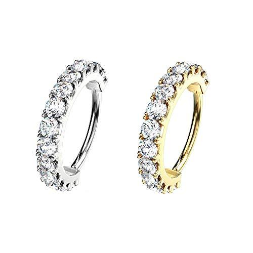 AWAKEN Pendientes de aro de clicker con cristales Swarovski brillantes para mujer, cartílago, septum, helix, de acero quirúrgico 316L (PB-039) Diametro Anello 8mm dorado