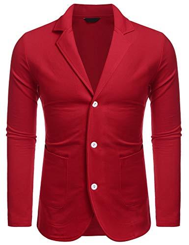MAXMODA Weihnachten Herren Sakko Rot Jersey Blazer Männer Regular Fit Freizeit Jackett Modern