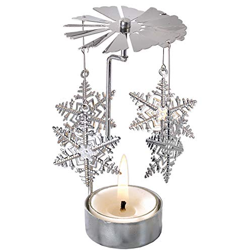 Bits and Pieces - 5 Inch Rotating Snowflake Tealight Candle Holder - Spinning Scandinavian Design Tea Light