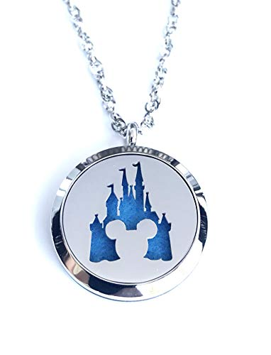FIKA Mickey Mouse Aromatherapy Essential Oils Necklace Pendant Air Freshener Locket Pads included (Magic Kingdom)