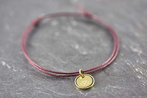 Lotus Blüte Circle bordeaux rot Armband vegan Geschenk…