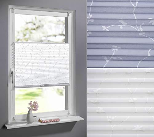 DECOLIA Klemmfix-Plissee verspannt, ohne Bohren oder Schrauben mit floralem Druckdesign, Breite/Höhe: 110 x 130 cm, Farbe: weiß