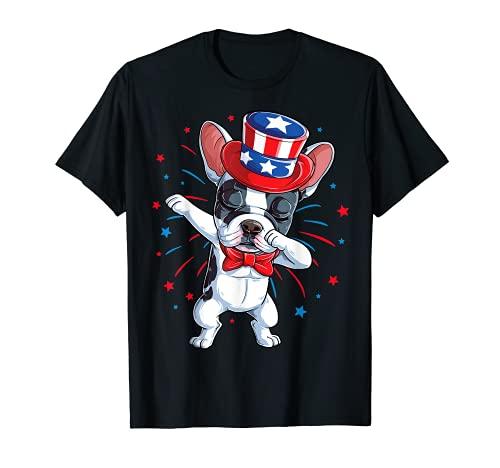 Dabbing French Bulldog 4th of July T shirt Men USA Flag T-Shirt