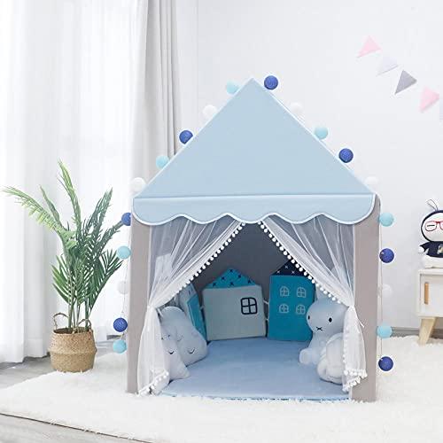 Fnho Tienda Tipi Interior y Exterior para niños,Castle Carpa Toy Play Tent Portable Plegable,Casa de Juegos para Carpa para niños, casa de Castillo para niños, Azul, Gris, versión Mejorada: 136 x 106