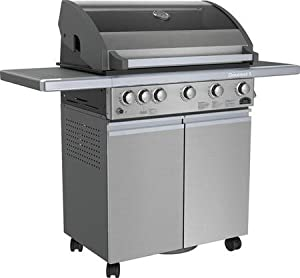 Sole SO5GSS 5 Burner Gas Grill with Rotisserie Kit 80 000 Total BTU's 10 000 BTU Rotisserie Rear Burner Jet Flame Ignition and Insultouch Hood with Glass Window Stainless