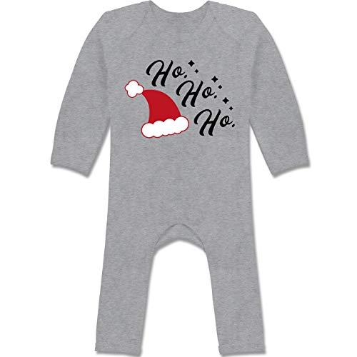 Shirtracer Weihnachten Baby - Ho Ho Ho - Santa Mütze - 6/12 Monate - Grau meliert -...