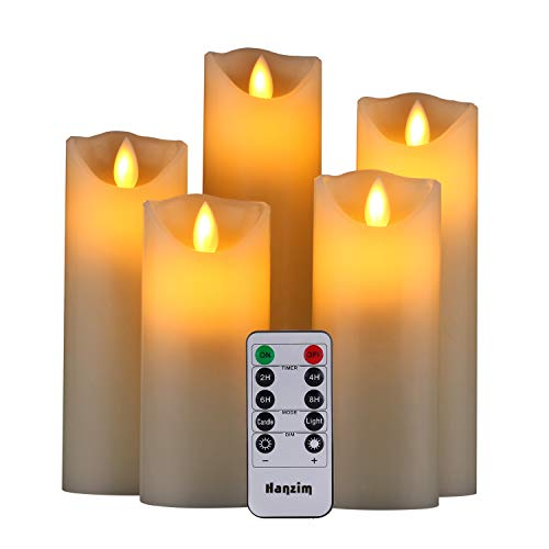 HANZIM LED Candles,Flameless Candles 5'6'7'8'9' Set of 5 Real Wax Battery...