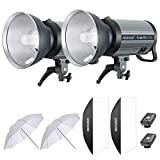Neewer 1200W Flash Estroboscópico Fotografía Kit Iluminación: (2) 600W Monoluz con Disparador Inalámbrico 2,4G (2) Pantalla (2) Softbox (2) Paraguas Reflector Montaje Bowens(Q600N)