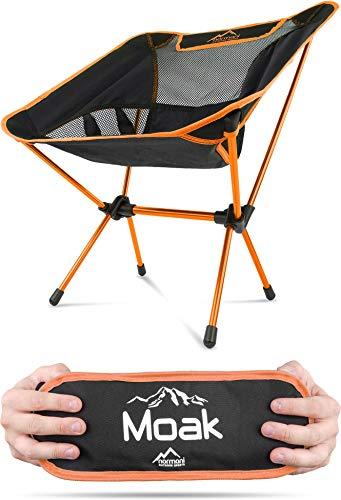 Campingstuhl Ultraleicht und Kompakt - Klappbarer Outdoorstuhl mit 796g! Faltbarer Strandstuhl Anglerstuhl Festivalstuhl Wanderstuhl Farbe Orange