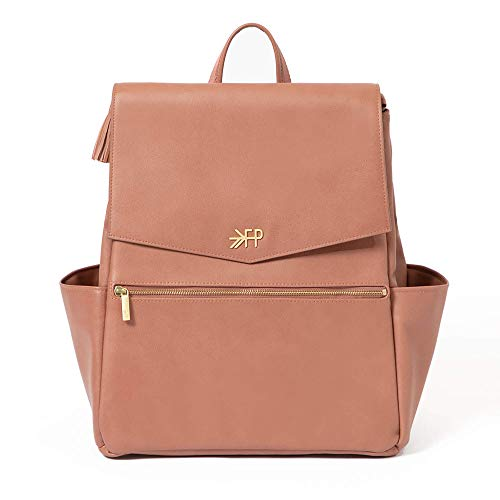 Freshly Picked - Convertible Classic Diaper Bag Backpack - Large Internal Storage 10 Pockets Wipeable Vegan Leather (Terracotta)