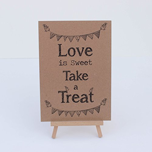 Luck and Luck Candy Sweet Bar Sign Kraft Brown 'Love Is Sweet' Sign And Easel
