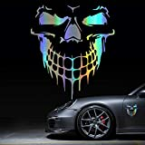 HungMieh Skull Stickers and Decals for Car Windows Doors and Trucks, 3D Skull Decals and Signs for Car Styling, Laser Skull Bumper Stickers for Car Decor