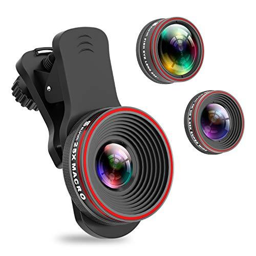 Handy Objektiv Kamera Linse Kit, 3 in 1 Lens Set 0,62X Weitwinkel + 25X Makro + 235° Fisheye Objektiv mit Universal Clip-On für IOS und Android Smartphone