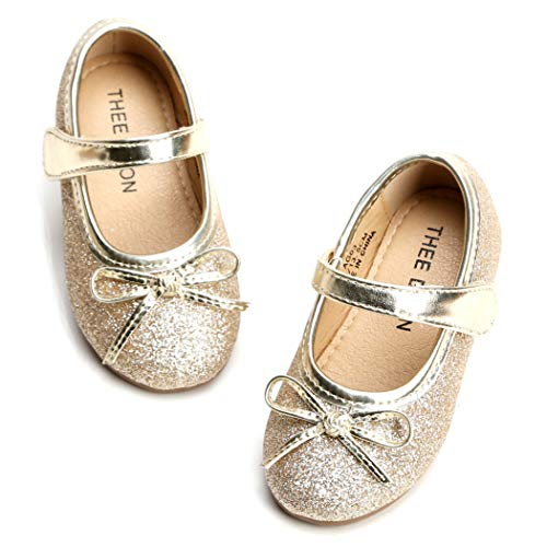 THEE BRON Girl's Toddler/Little Kid Ballet Mary Jane Flat Shoes (5M US Toddler, Lg03 Gold)