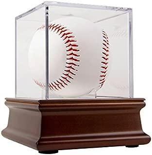 BallQube Grandstand Baseball Display on a Wood Base