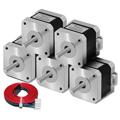 Usongshine Nema 17 Schrittmotor, 1.5A High Torque 420mN.m (59.5 oz.in) 2-Phasen 4-Draht 1.8° Stepper Motor für CNC 3D Drucker Printer/CNC XYZ Draht + DuPont-Linie(4401 5PCS)