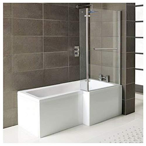 Badewanne SYNA 167,5cm Rechts + Duschkabine + Wannenschürze + Ablaufgarnitur + Wannenfüße