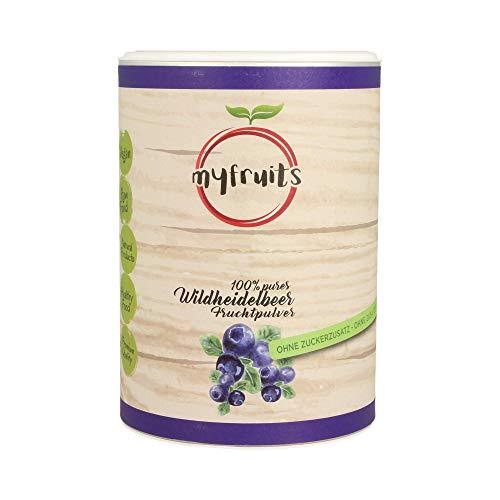 myfruits® Wildheidelbeerpulver - ohne Zusätze, zu 100% aus Heidelbeeren, Fruchtpulver für Smoothie, Shakes & Joghurt (350g)
